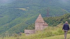 Slow motion shot of the Tatev monastery from a cableway Stock Footage