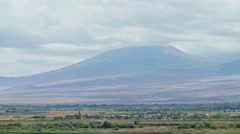 View on Ararat in clouds from Khor Virap monastery on Armenian-Turkey border Stock Footage