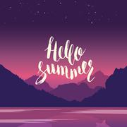 Hello summer. Hand lettering vector illustration. Inspirational phrase - stock illustration