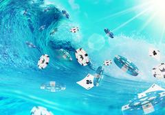 Big Ocean Wave and Flying Gambling Chips Piirros