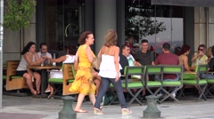 Open air restaurant at the Thessaloniki waterfront boulevard (Nikis street) Stock Footage