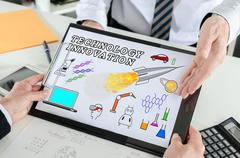 Technology innovation concept on a clipboard - stock photo