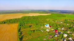 Flying over the farmland - stock footage