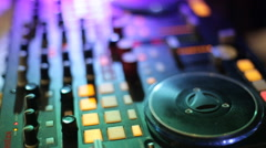 Dj table at wedding tilt up.close up - stock footage