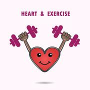 Smile heart shape with the barbell on background.Heart Care logo.Healthcare & Stock Illustration