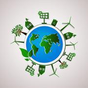 Green planet vector info graphic illustration. Ecology flat design. Stock Illustration