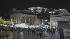 4K Monastiraki square Athens,Greece, at night, tracking,establishing shot Stock Footage