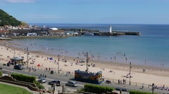 View of Scarborough town and beach Stock Footage