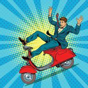 Male driver accident on the scooter Stock Illustration