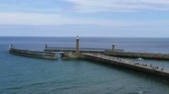 Time lapse clips of Whitby's twin piers. Stock Footage