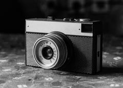 Old scratched vintage camera Stock Photos