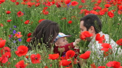 Happy young family in red poppies blossom field, smile, enjoy flower fragrance Stock Footage