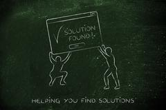 Men lifting pop-up with solution found, decision support Stock Illustration