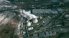 Cooling Towers Attached to Power Plant Stock Footage