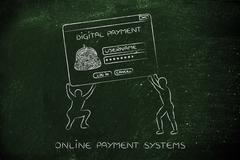 men lifting pop-up with digital wallet, setup a virtual payment system - stock illustration