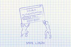 Men lifting pop-up with double authentication, safe login Stock Illustration