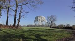 Radio telescope jodrell bank deep space blue sky. Stock Footage