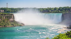 Timelapse View of Tourist Boats at Niagara Falls, on the Border of US and Canada Stock Footage