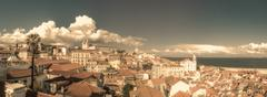 Vintage panoramic image of central Lisbon, Portugal - stock photo