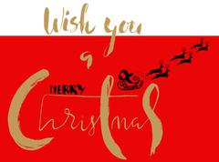 Silhouette Sleigh of Santa Claus and Reindeers. Christmas Lettering Card. EPS8 Stock Illustration