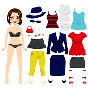 Cute Paper Doll Girl Stock Illustration