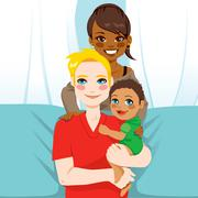 Happy Interracial Family - stock illustration