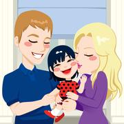 Adopted Daughter Family Stock Illustration