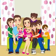Happy Large Family Stock Illustration