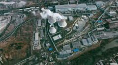 Aerial of Power Station with Cooling Towers Stock Footage