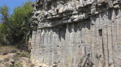 Basalt columns of volcanic rocks Stock Footage