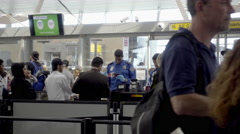 Travelers on security line at JFK airport in 4K Stock Footage