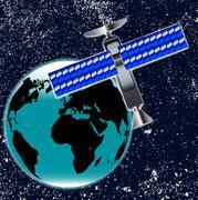 Satellite Over Earth Stock Illustration