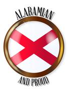 Alabama Proud Flag Button Stock Illustration