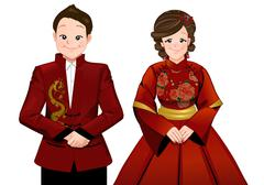 Chinese marriage wedding cartoon in modern chinese dress ceremony - stock illustration