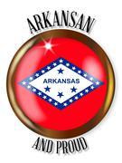 Arkansas Proud Flag Button Stock Illustration