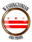 Washington DC Proud Flag Button - stock illustration