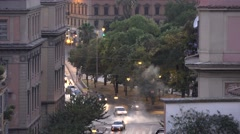 Car traffic in Rome Italy by night Italian cars driving on illuminated streets Stock Footage