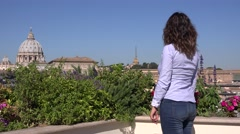 Back view female tourist woman in Rome Vatican sightseeing visitor enjoy view 4K Stock Footage