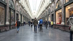 Galeries Royales Saint-Hubert of Brussels Stock Footage