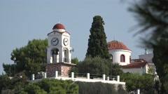 Church tower clock in Skiathos - stock footage