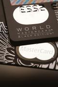 Samara, Russia-July 25.2016: World MasterCard Black edition Privilege credit  Stock Photos