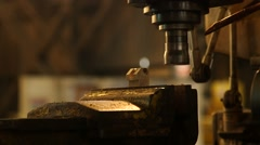Milling Machine Makes Steel Part Stock Footage