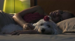 Woman Stroking Dog In Bed Sleeping At Night Stock Footage