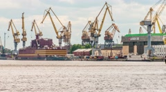 Sea cruise and cargo ships in St. Petersburg Stock Footage