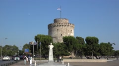 Area of the Thessaloniki White Tower. Stock Footage