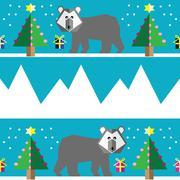 Geometric xmas pattern with polar bear Stock Illustration