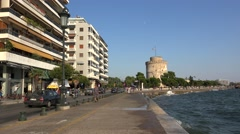 Strolling people at the Thessaloniki waterfront boulevard (Nikis street). Greece Stock Footage