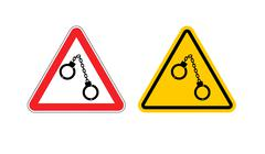 Warning sign arrest attention. Dangers yellow sign detention. Handcuffs on re Stock Illustration