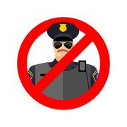 Stop cop. It is forbidden by police. Strikethrough constabulary. Emblem again Stock Illustration
