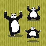 Panda Yoga meditating. Chinese bear on background of bamboo. Status of nirvan - stock illustration